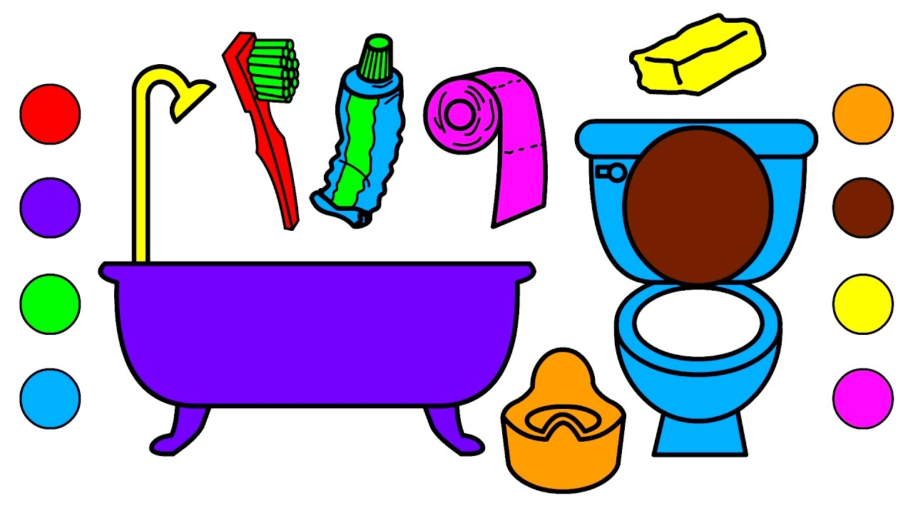 Learn colors with bathroom tools coloring pages for kids for Bathroom drawing tool