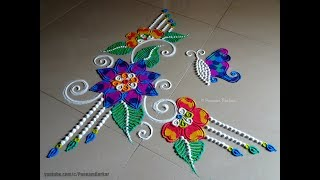 Beautiful and unique free hand rangoli | Easy rangoli designs by Poonam Borkar