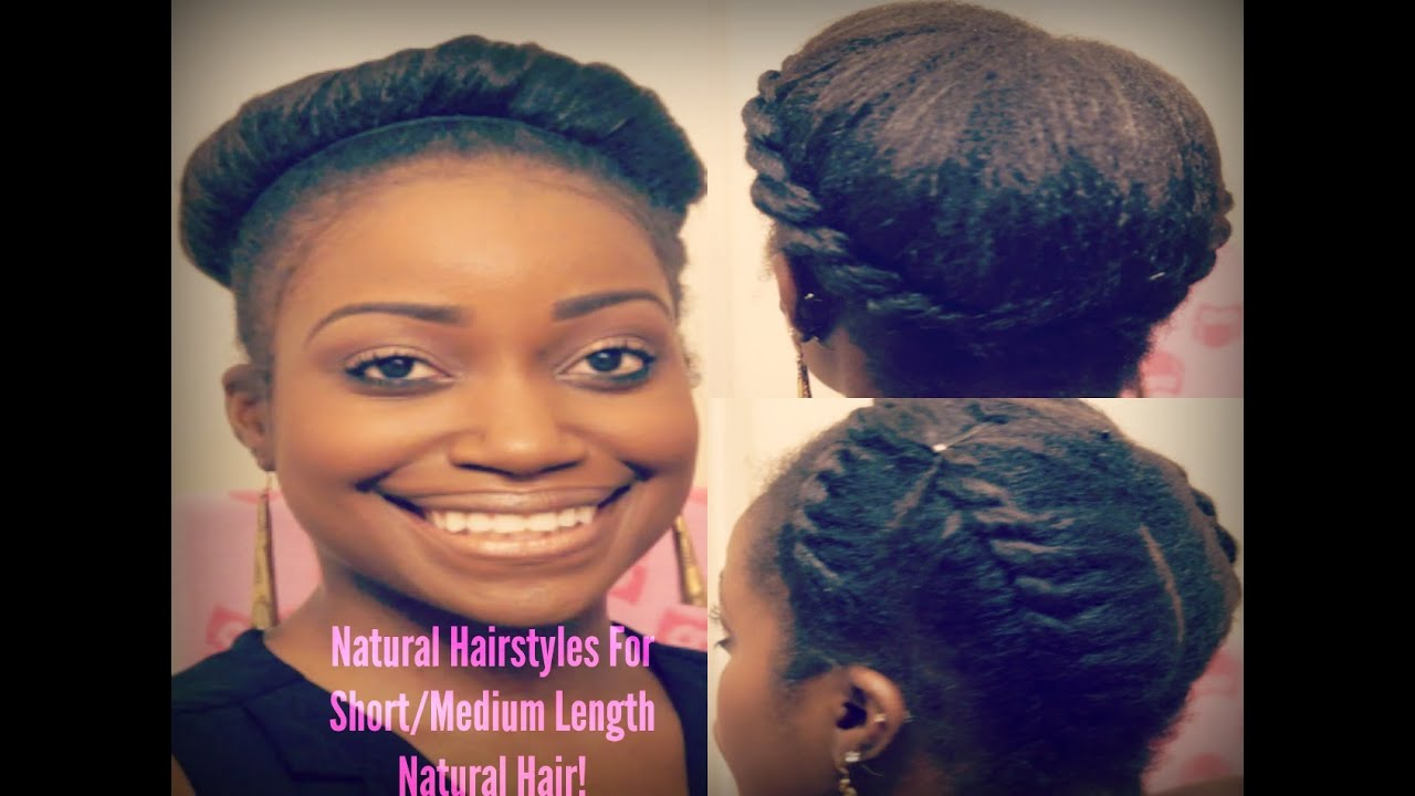 Natural hairstyles for medium length hair for black women - Easy Natural Hairstyles For Short Medium Length Natural Hair Natural Hair Tutorial Youtube