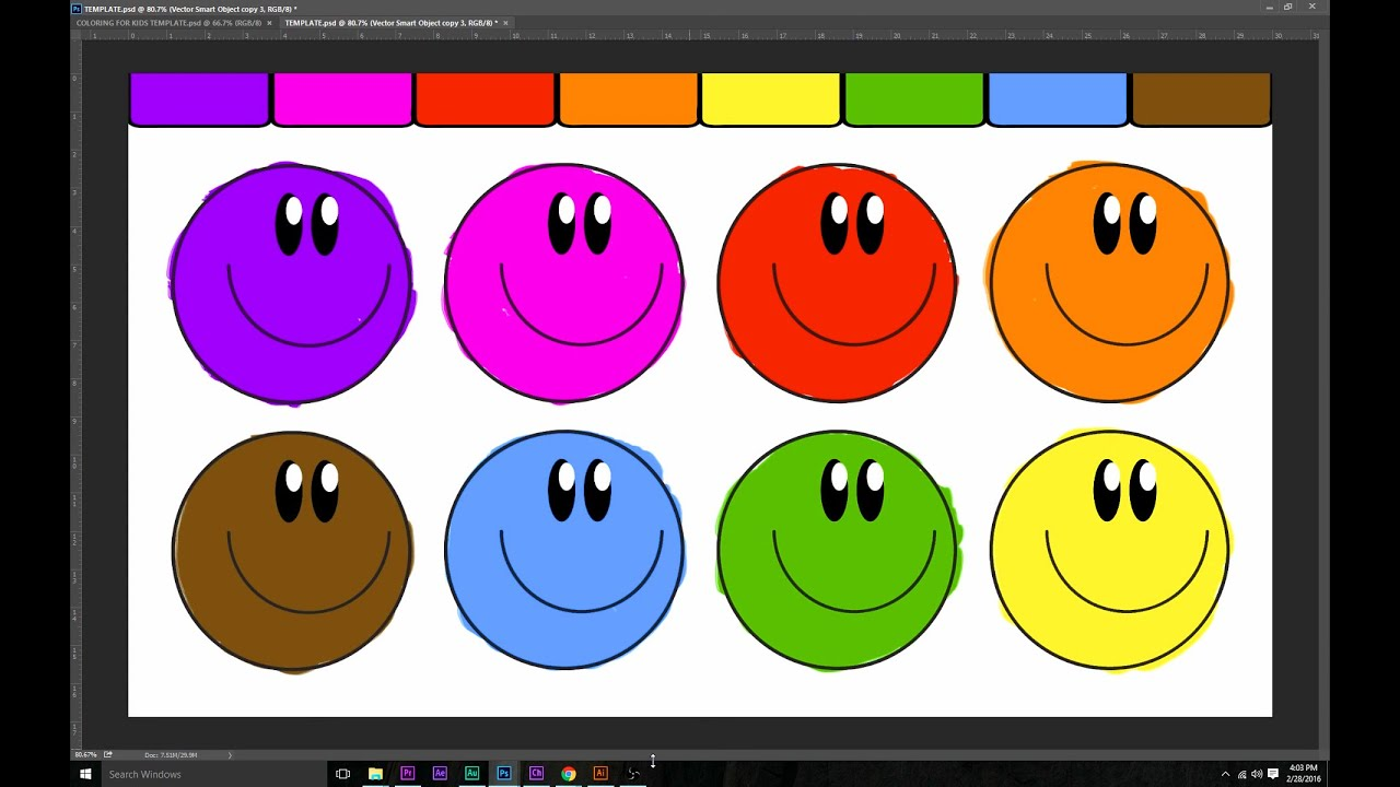LEARN COLORS WITH THIS FUN SMILEY FACE COLORING PAGE! - YouTube