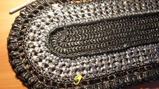Вязание овального коврика из полиэтиленовых пакетов.  Ряды 8-10