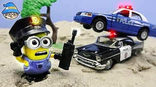 Minions and police car episode. Minions and policeman pretend play.