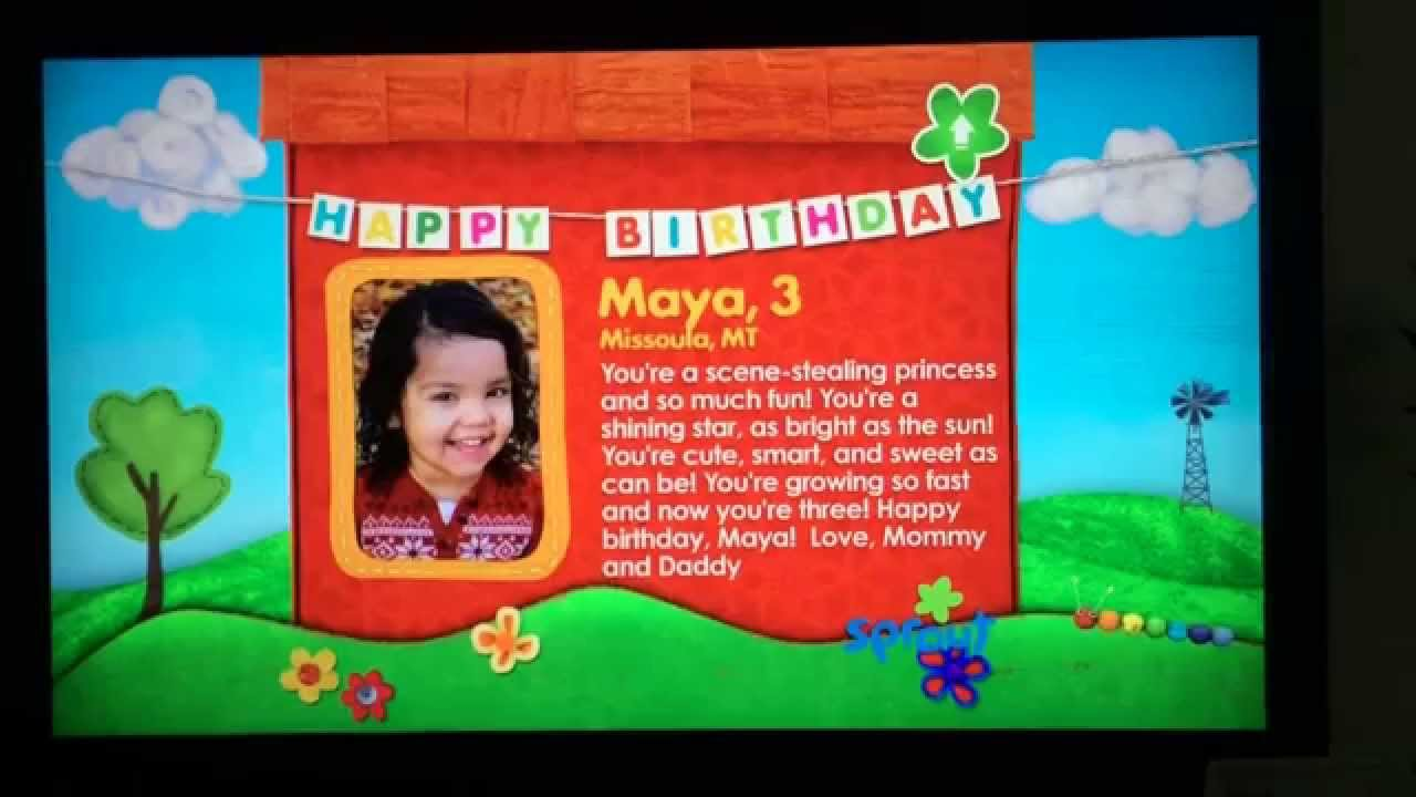 Maya makes the Sprout birthday cut YouTube – Sprout Birthday Cards