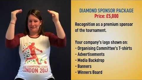 Diamond Sponsor Package - European Deaf Champions League - London 2019