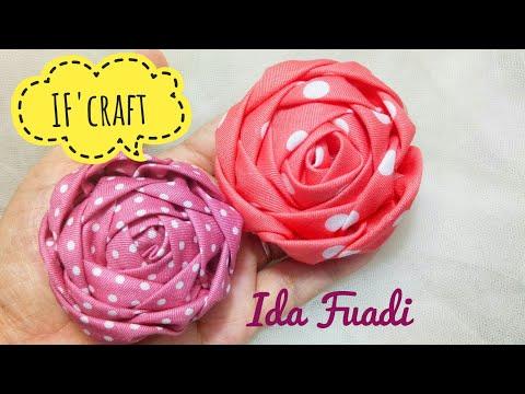 157) DIY-HANDMADE || Tutorial || Bros bunga mawar kain perca || How to make Fabric Rose || Patchwork