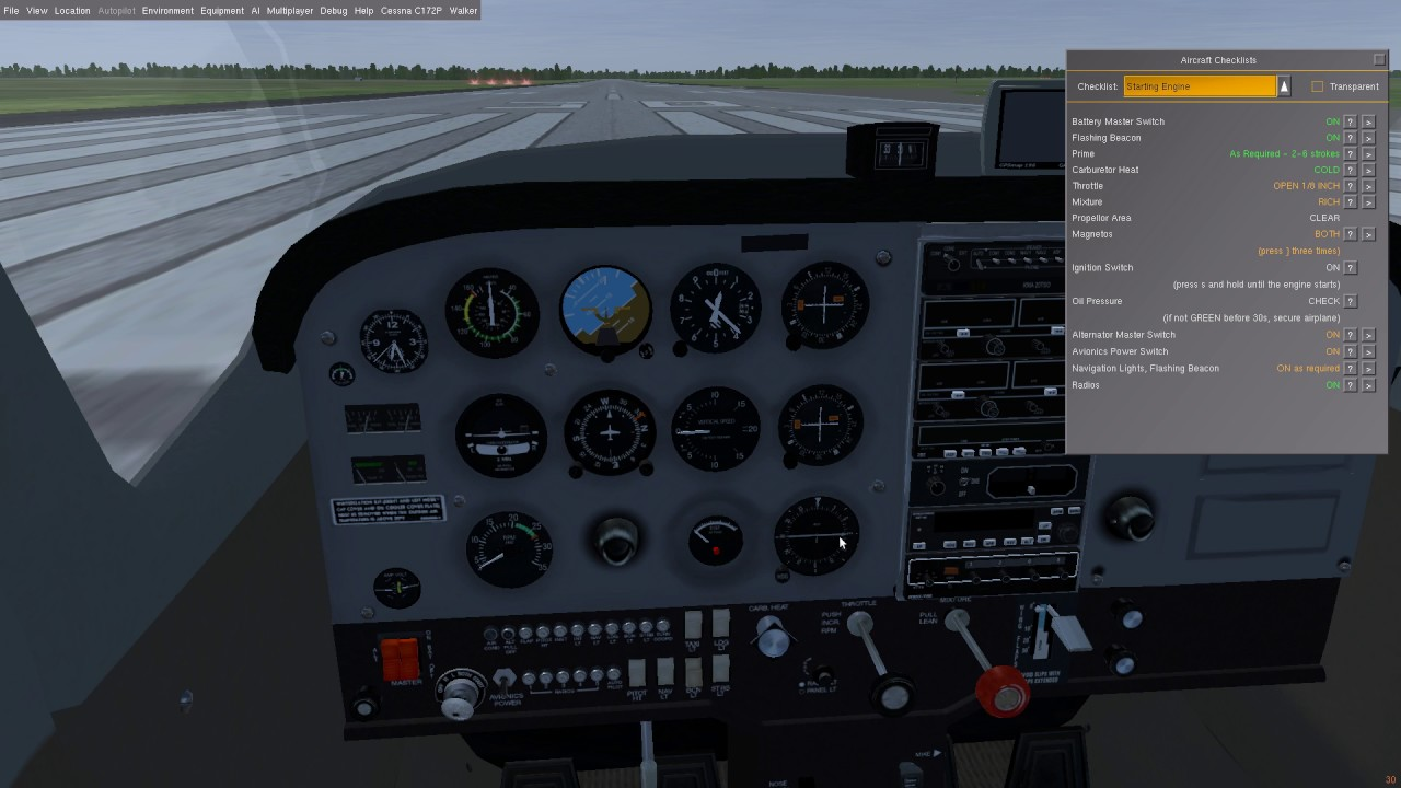 How to start C172P in Flightgear