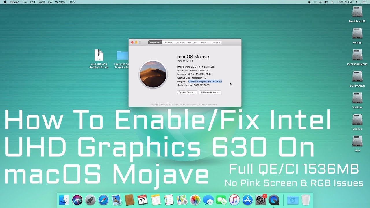 How to Enable/Fix Intel UHD Graphics 630 on macOS Mojave | Hackintosh |  Step By Step