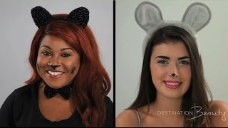Cat and Mouse Halloween Makeup Tutorial with NitraaB & HelloKatyXO |  Destination Beauty Thumbnail