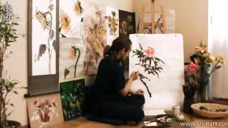 """Обучение рисованию Пиона при помощи живописи у-син. Урок 2. """"Пион с листвой"""""""