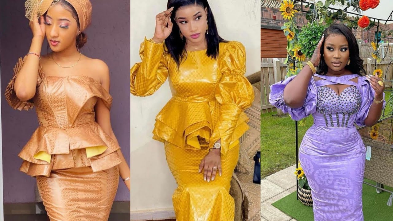 New & Trendy 2021 African Dresses Of Senegalese Bazin Richie Outfits/Asoebi Styles For Beautiful