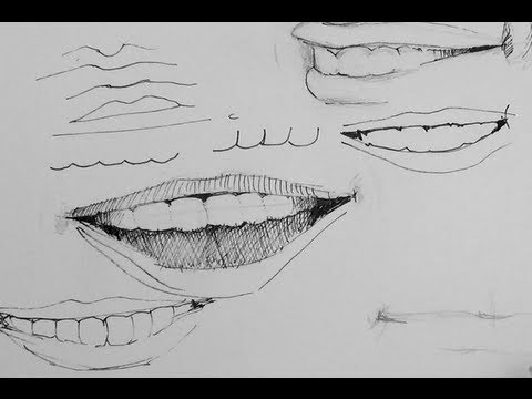 Pen ink drawing tutorial simple tips on how to draw smiles and teeth youtube