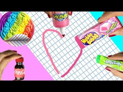 10 DIY School Supplies {Easy}! Weird DIY Crafts - Hacks w/ Candy! Mini Notebook, Pens…Cool DIYs