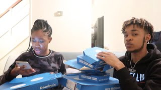 DOMINOS MUKBANG w/ My 13 Year Old Sister (SHE TELLS ME ABOUT HER BOYFRIEND)
