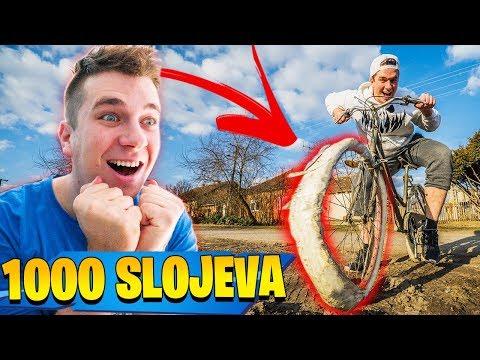 1000 SLOJEVA SELOTEJPA NA BICIKLU!