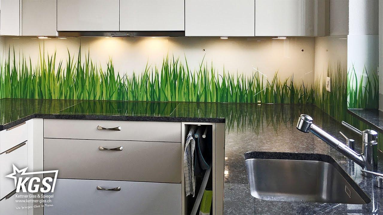 diamant-glas-küchenrückwand mit gras-digitaldruck - youtube