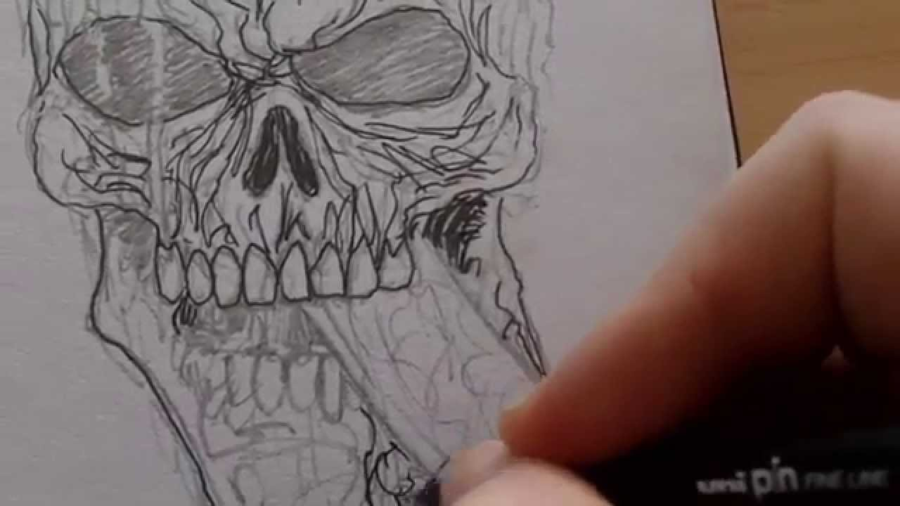 Drawing a skull with knife through head drawing journal 28 youtube thecheapjerseys Choice Image