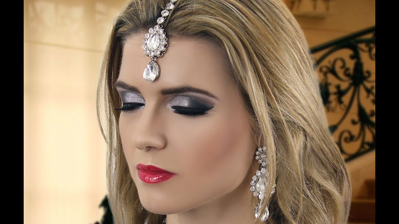 Black Smokey Eye Evening Party Makeup - Indian Asian Pakistani Arabic Make Up Tutorial - YouTube