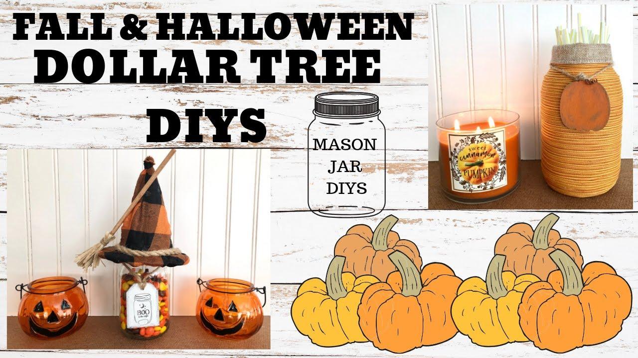 2 Fall Dollar Tree DIYS | Halloween & Fall Mason Jar Projects