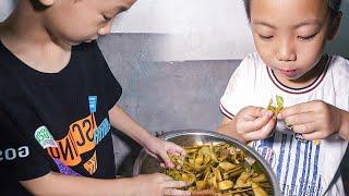 剛摘的毛豆,媳婦連杆一起煮,3個孩子搶著吃 | Fresh edamame, the three children to eat