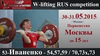30-31.05.2015 (53-IVANENKO-54,57,59/70,73х,73) Championship Moscow 15 years