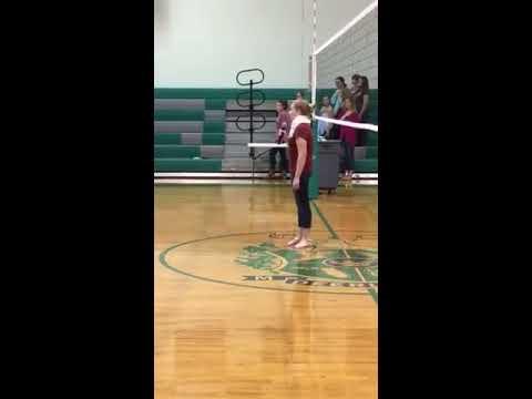 Olivia Bahmer singing National Anthem at Deerlake Middle School fundraiser