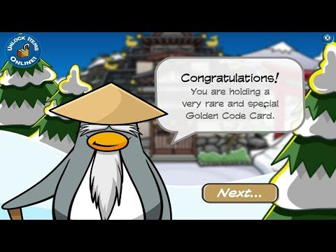 Club Penguin Unlocking Golden Code Card