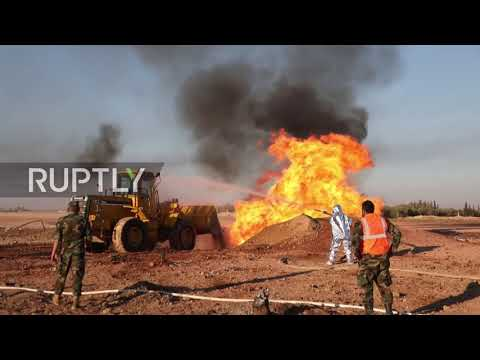 Syria: Emergency crews deal with fire after suspected attack on gas pipeline