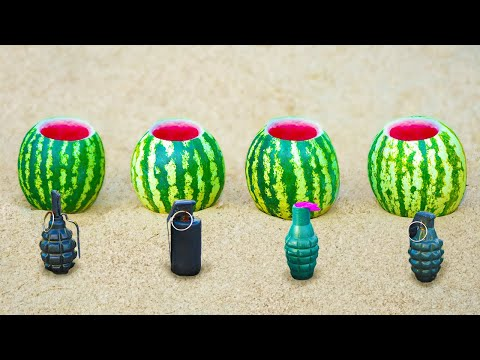 Experiment: 4 Different Things in a Watermelon
