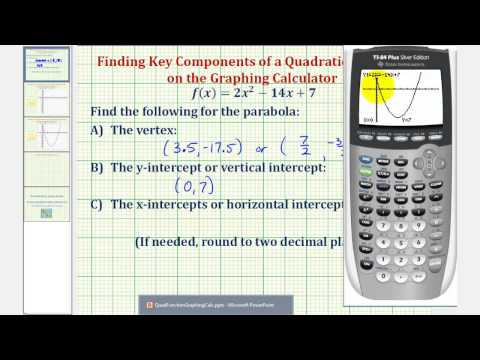 Quadratic Functions - Find Vertex and Intercepts Using the ...
