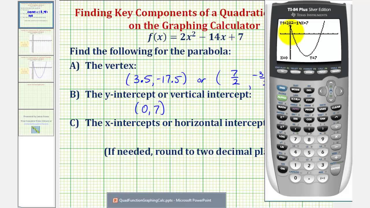 Quadratic Functions Find Vertex And Intercepts Using The Graphing