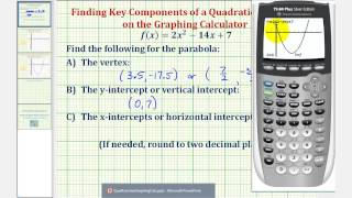 Quadratic Functions - Find Vertex and Intercepts Using the Graphing Calculator