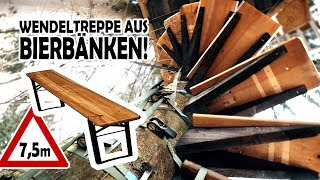 Wir bauen eine WENDELTREPPE aus BIERBÄNKEN für unser Baumhaus!