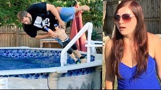 NEIGHBOR RAGES AT FAT MAN TRESPASSING IN HER POOL WRESTLING WWE TOYS!