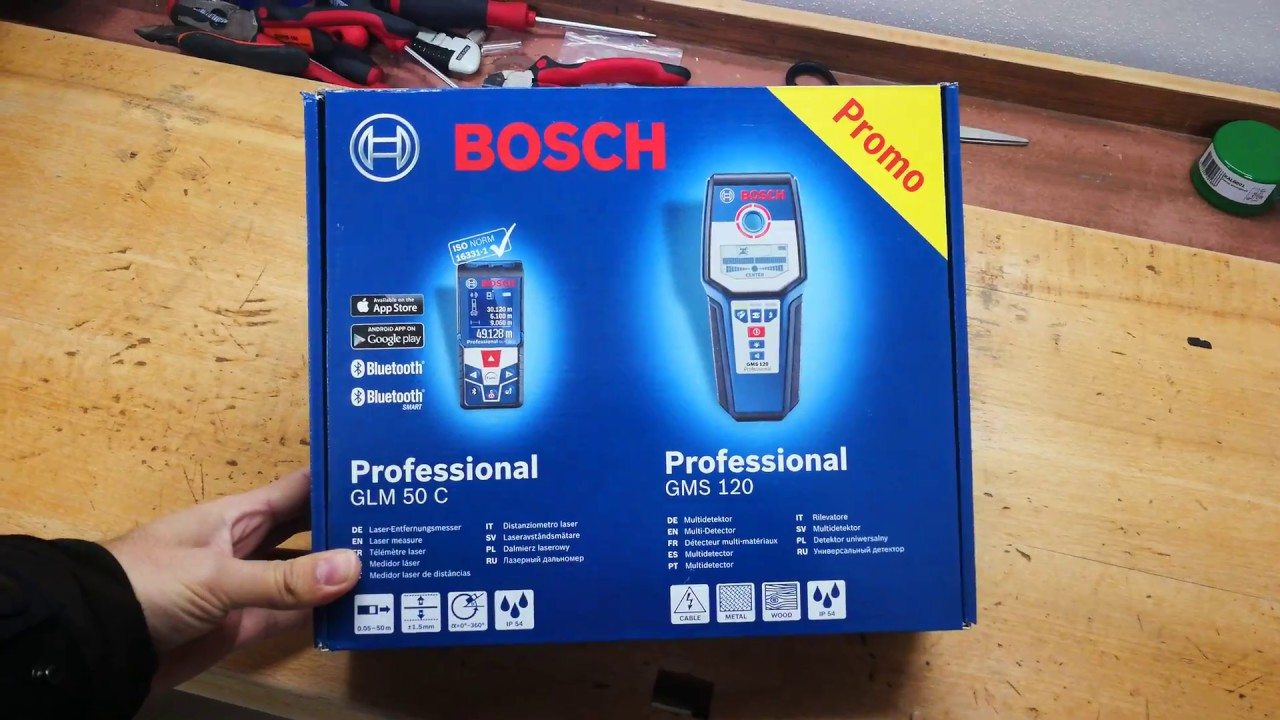 Unpacking unboxing set laser measure bosch glm c and bosch