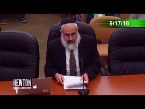 Rabbi Yosef Polter Challenges the Newton School Committee (September 17, 2018)
