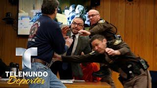 Padre de gimnastas abusadas intenta golpear a Larry Nassar | Videos Virales | Telemundo Deportes