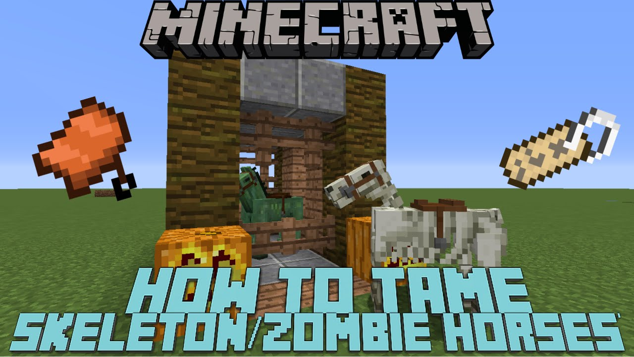 How To Tame Ride A Skeleton Horse Zombie Horse In Minecraft   Mcpe Youtube