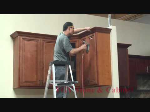 how to install crown molding on kitchen cabinets youtube