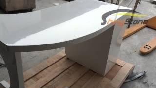 High gloss corian acrylic solid surface office executive desk
