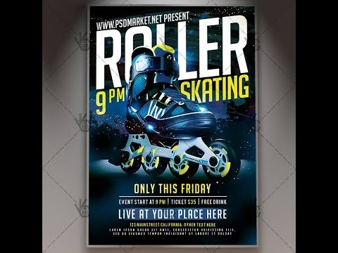 Roller Skating Party Flyer - PSD Template