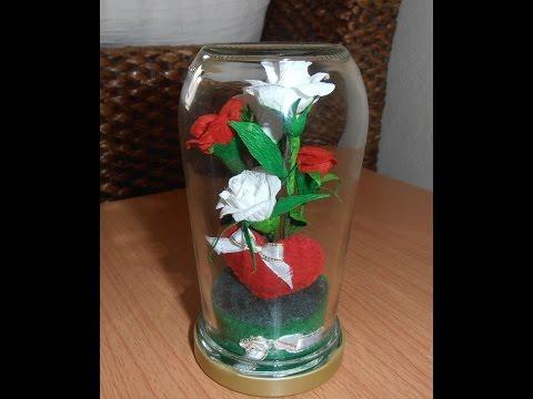 diy ดอกไม้กระดาษ  (กุหลาบในขวด  วาเลนไทน์ )