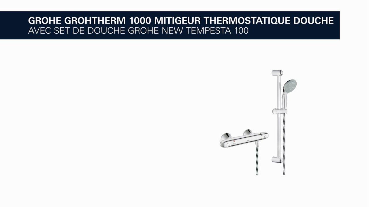 mitigeur thermostatique de douche grohe grohtherm 1000. Black Bedroom Furniture Sets. Home Design Ideas