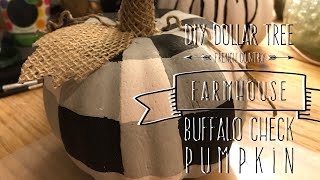 DIY Dollar Tree  French Country  Farmhouse  Buffalo Check  Pumpkin