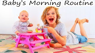 BABY'S MORNING ROUTINE with a Family of 7 | The NORRIS NUTS Morning Routine
