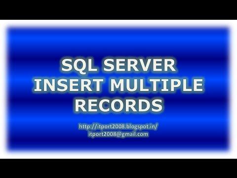 Insert Multiple Rows In SQL Server