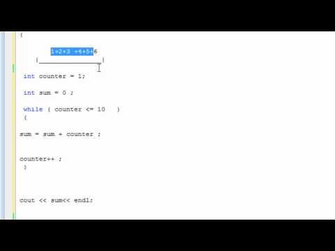 Learn programming now 27 ( While loop: Sum of numbers C++)