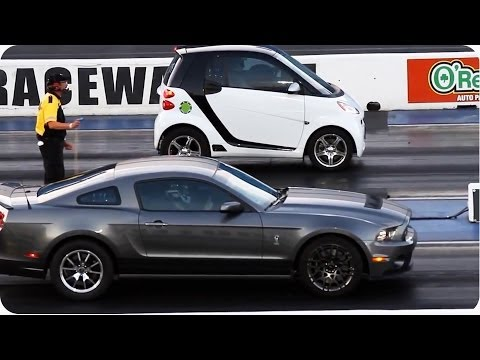 Blown Smart Car Outruns Mustang | Epic Drag Race