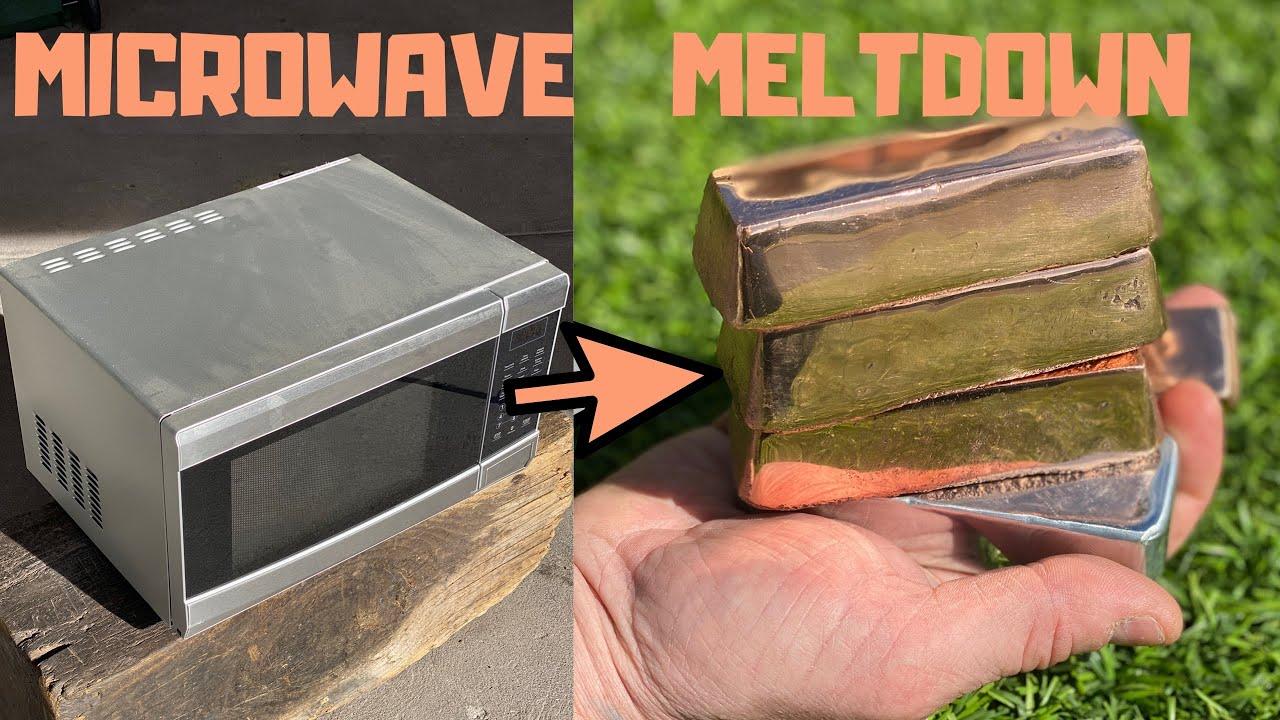 microwave meltdown copper casting trash to treasure bigstackd asmr metal melting