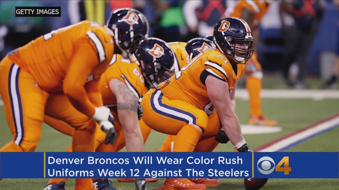 finest selection 6a186 b6fc5 Broncos Will Wear Color Rush Uniforms In Week 12 Vs. Steelers