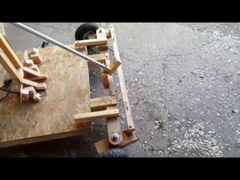 Wood car/gokart, engine mounted, new steering wheel, and engine test